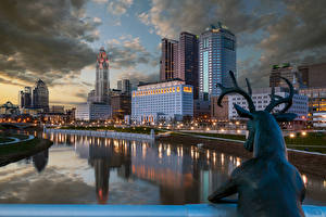 Wallpapers USA Houses River Deer Sculptures Night time Street lights Columbus Ohio