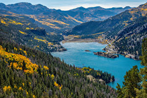 Pictures USA Lake Mountain Forests Autumn Landscape photography Lake City, Colorado