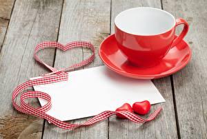 Sfondi desktop Festa di san Valentino Tazza Cuore Fettuccia Tavole