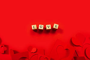 Pictures Valentine's Day Love Template greeting card Red background Cube Heart Lettering English