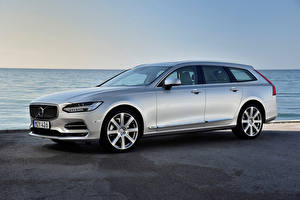 Pictures Volvo Estate car Silver color V90 automobile