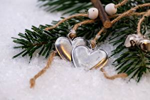 Picture Winter Christmas Snow Branches Heart