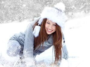 Photo Winter Izabela Magier Snow Winter hat Sweater Brown haired Smile Girls