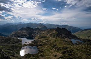 Papéis de parede Andorra Montanhas Lago Céu Nuvem Juclar Lakes Naturaleza imagens