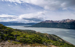 Picture Argentina Mountains Lake Clouds Lago Argentino, Patagonia Nature