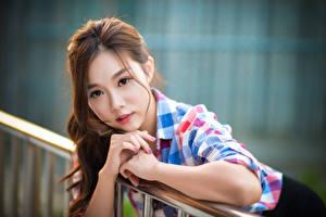 Bilder Asiatische Bokeh Braunhaarige Blick Hand junge Frauen