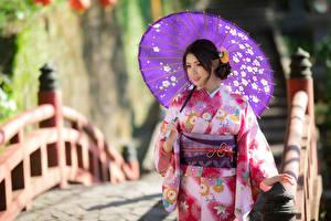 Bakgrunnsbilder Asiater En bro Bokeh Kimono Paraply