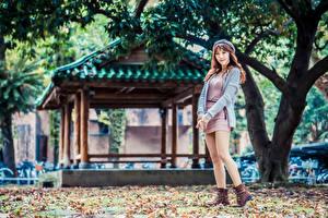 Sfondi desktop Asiatico Ragazza capelli castani Abito Il basco Le gambe Sguardo giovane donna