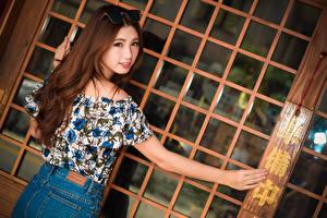 Sfondi desktop Asiatico Ragazza capelli castani Occhiali Sguardo Le mani giovani donne