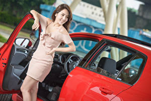 Picture Asian Brown haired Smile Dress Hands Eyeglasses Girls Cars