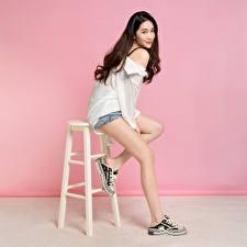 Hintergrundbilder Asiatisches Stuhl Posiert Bein Shorts Bluse Blick Braunhaarige junge Frauen