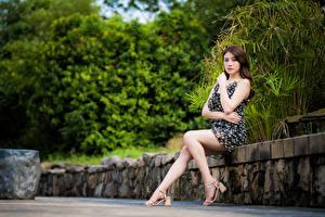 Sfondi desktop Asiatici Vestito Seduta Le gambe Colpo d'occhio giovani donne