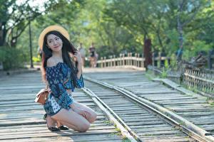 Bilder Asiatisches Handtasche Unscharfer Hintergrund Der Hut Brünette Hand Bein Pose junge Frauen