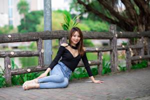 Sfondi desktop Asiatico Sedute Jeans Blusa Sorriso Colpo d'occhio