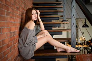 Pictures Asian Stairway Sit Legs Glance Brown haired female