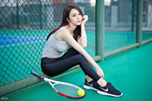 Wallpaper Asian Tennis Bokeh Brunette girl Singlet Hands Legs Sitting Ball Pose young woman