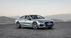 Bakgrundsbilder på skrivbordet Audi Silver färg Hatchback, A7, Sportback, quattro, 2018 automobil