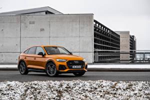 Hintergrundbilder Audi Orange Metallisch SQ5 Sportback TDI, Worldwide, 2020 Autos