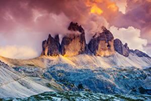 bilder Østerrike Fjell Skyer Dolomites, South Tyrol, Tre Cime di Lavaredo Natur bilder skrivebordsbakgrunn