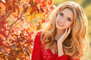 Image Autumn Bokeh Blonde girl Staring Smile Hands Hair young woman
