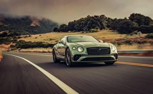 Desktop hintergrundbilder Bentley Grün Bewegung 2019 Continental GT V8 automobil