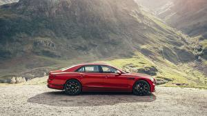 Hintergrundbilder Bentley Seitlich Rot Twin Turbo, Flying Spur 2021 automobil