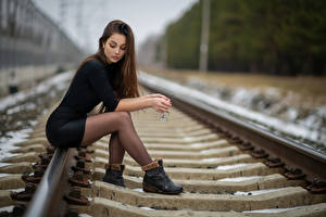 Photo Bokeh Rails Brown haired Hands Glasses Sitting Legs Pantyhose young woman