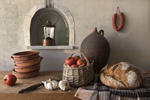 Wallpapers Bread Tomatoes Allium sativum Sausage Still-life Lantern Wicker basket