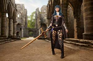 Bilder Mikhail Davydov photographer Pose Rüstung Starren Blick Junge Frauen Byleth Mädchens Fantasy