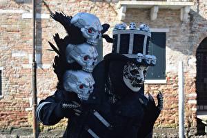 Hintergrundbilder Karneval und Maskerade Masken Schädel Der Hut