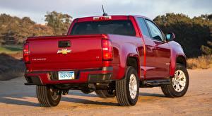 Papel de Parede Desktop Chevrolet Pickup Vermelho De volta Colorado, LT Extended Cab, 2014 carro