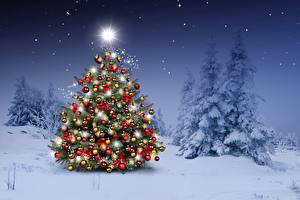 Bilder Neujahr Tannenbaum Kugeln Schnee Natur