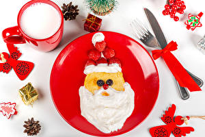 Photo Christmas Knife Hotcake Milk Strawberry White background Plate Design Santa Claus Fork Mug Cream Conifer cone Present Bow knot