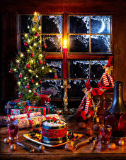 Wallpapers Christmas Still-life Wine Nuts New Year tree Balls Fairy lights Present Bottle Shot glass Window