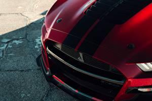 Fondos de Pantalla De cerca Ford Tiras Cofre capó Mustang Shelby GT500 2019 Coches imágenes