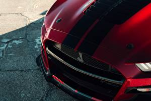 Bureaubladachtergronden Close-up Ford Gestreept Motorkap auto Mustang Shelby GT500 2019 auto's