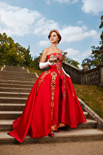 Pictures Crown Mikhail Davydov photographer Stairs Pose Dress Cosplay Anastasia young woman