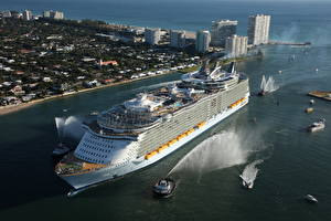 Wallpaper Cruise liner Ships Bay From above Oasis Seas