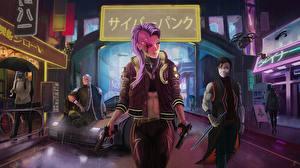 Fotos Cyberpunk 2077 Pistole Spiele Mädchens