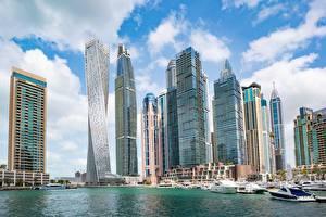 Photo Dubai Emirates UAE Skyscrapers Motorboat Houses Dubai Marina