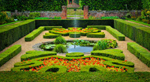 Pictures England Parks Fountains London Design Shrubs Hampton Court Palace