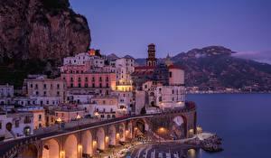 Picture Evening Houses Italy Atrani, Salerno Gulf Cities