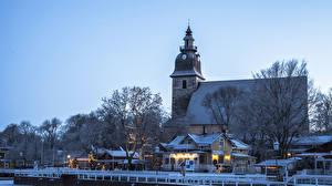 Hintergrundbilder Finnland Winter Neujahr Haus Schiffsanleger Abend Naantali
