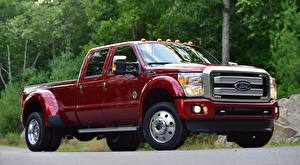 Hintergrundbilder Ford Pick-up Rot F-450, Super Duty Platinum Crew Cab, 2015 automobil
