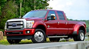 Fotos Ford Pick-up Rot F-450, Super Duty Platinum Crew Cab, 2015 Autos