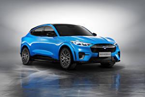 Bilder Ford Hellblau Metallisch Softroader Mustang Mach-E GT, China, 2021 Autos