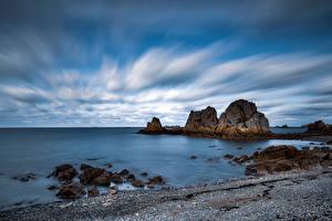 Papéis de parede França Costa Pedras Rocha Nuvem Bretagne Naturaleza imagens