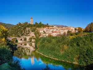 Hintergrundbilder Frankreich Gebäude Fluss Dorf Olargues