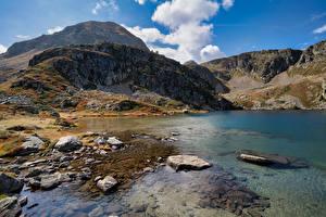 Papéis de parede França Montanhas Pedras Lago Aston Naturaleza imagens