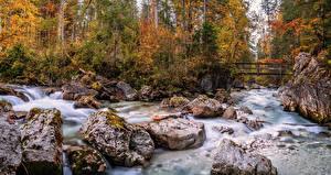 Wallpaper Germany Autumn Forests River Stone Bridges Bavaria Nature